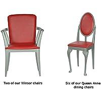 High Street Design Queen Anne Sedia da pranzo set in argento con pilastro cuscini in pelle sintetica, colore: rosso