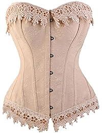 b324b18ac5 BLDF Women Lace Up Cream Pink Burlesque Basque Bustier Shaper Overbust  Boned Corset Top