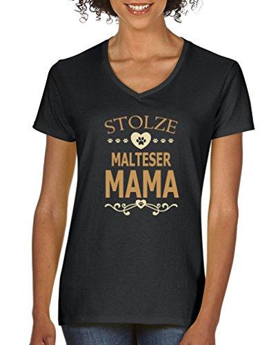 Comedy Shirts - Stolze Malteser Mama - Damen V-Neck T-Shirt - Schwarz/Hellbraun-Beige Gr. M