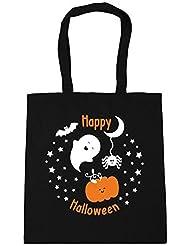 HippoWarehouse Happy Halloween (Feliz Halloween) Bolsa De Compras Gym Bolso De Playa 42cm x38cm, 10 litros