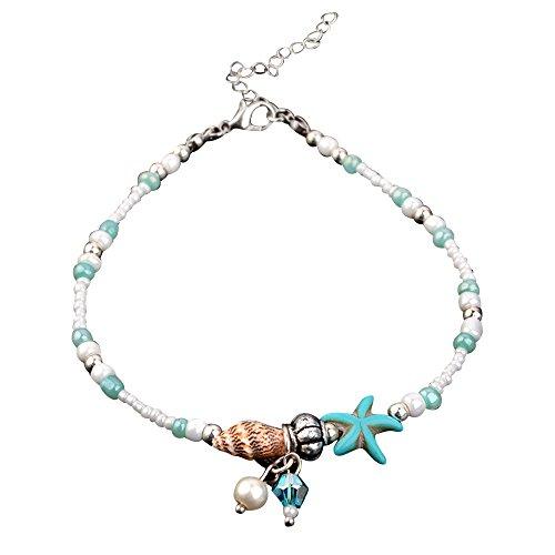 Moonuy Damen Accessoires Shell Strand Fuß Kette Muschel Sandale Fußkettchen Perlen Armband Schmuck Muscheln Strand Fuß Kette Fuß Kette Perlen Armband (B)