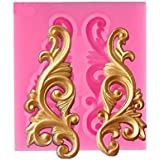 Bakefy® Small Barque Silicone Mould 3D Barque Scroll Relief Silicone Molds Leaves Cake Border Fondant DIY Cake Decorating Too