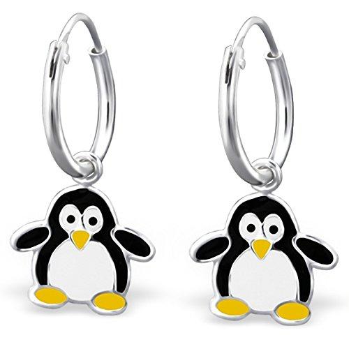 JAYARE Boucles d'oreilles Enfants pingouins 21 x 10 mm Email argent sterling 925 multicolore avec étui de cadeau pendantes d'oreilles fille