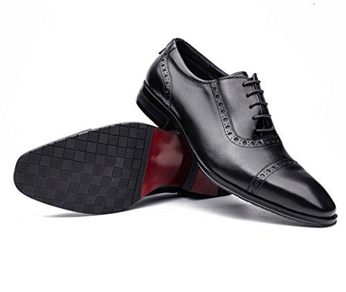 WZG scarpe da uomo vestito delle nuove scarpe di business in pelle pizzo scarpe da sposa degli uomini di cuoio da uomo in pelle di alta qualità in stile britannico , black , 43