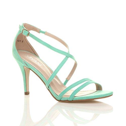 Donna tacco alto medio cinghietti incrociato matrimonio sera sandali taglia Pastello Verde Menta Scamosciata