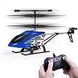 SGILE Helicóptero de Control Remoto con Giro y Luz LED, RC Hobby de 3 Canales Helicóptero de Aleación de Radio Resistente Consistente para el Interior Listo para Volar, Azul