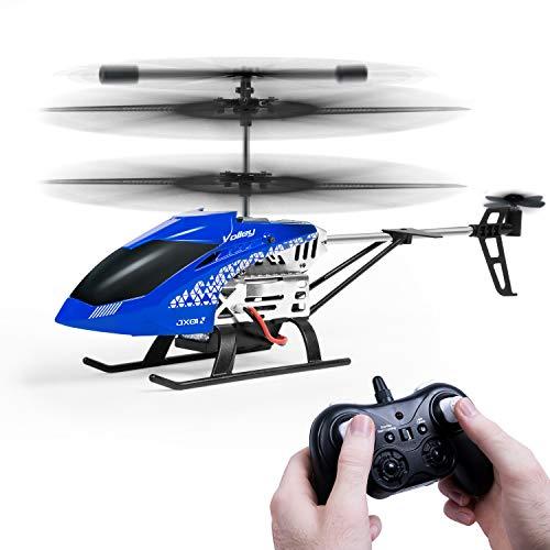 SGILE RC Flugzeug Helikopter Ferngesteuerter Hubschrauber mit Gyroskop und LED Licht 3-Kanal Steuerung Hobby RC Metall Flugzeug Unfall-Resistent Konsistent für Innenraum Ready-to-Fly, Blau