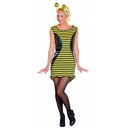 Damen Kostüm Biene Gr. 36-50 Kleid schwarz/gelb Hummel Bienenkostüm Fasching (48/50)