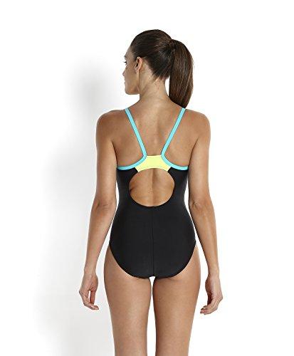 Speedo Damen Badeanzug Thinstrap Muscleback Schwarz (Black/Bali Blue/Fluo Yellow)