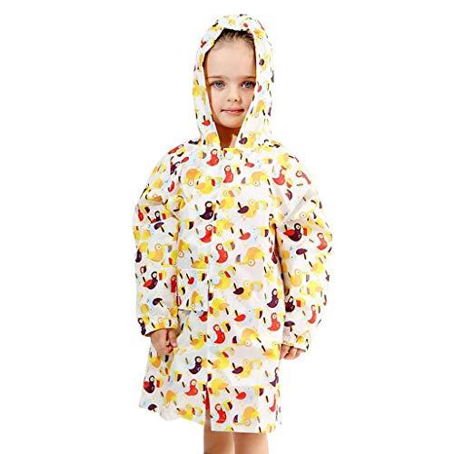 BAIF Regenmantel Kinder Poncho Atmungsaktiv Geruchlos Reißverschluss Jungen Und Mädchen Regenbekleidung (Farbe: D-M)
