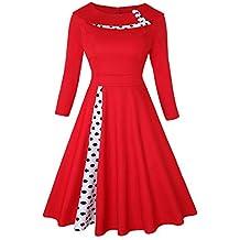 ez-sofei Mujer Vintage AÑOS 50 botones Front Cuello vestidos de cóctel