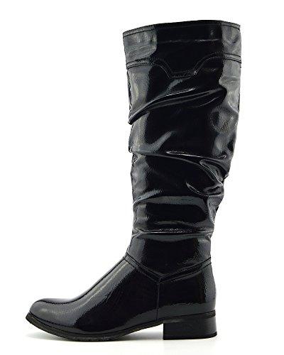 Kick Footwear Donne di Alti al Ginocchio Tacco Piatto Zip Inverno Equitazione da Biker Scarpe Vernice Nera