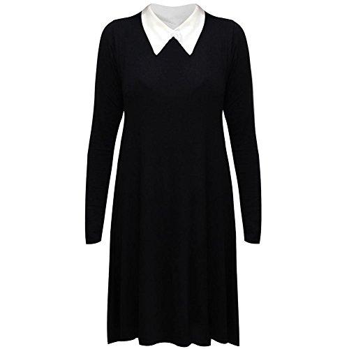 janisramone Nouveau femme extensible Robe évasée avec manches longues et col Peter Pan robe évasée simple Noir