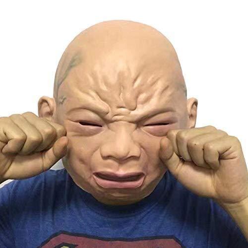 Halloween Maske Full Face Scary Weinen Gesicht Puppe Latex Maske Maskerade Kostüm Cosplay, Universal Full Face Clown, Urlaub Lieferungen (Color : White) (Scary Kostüm Puppen)