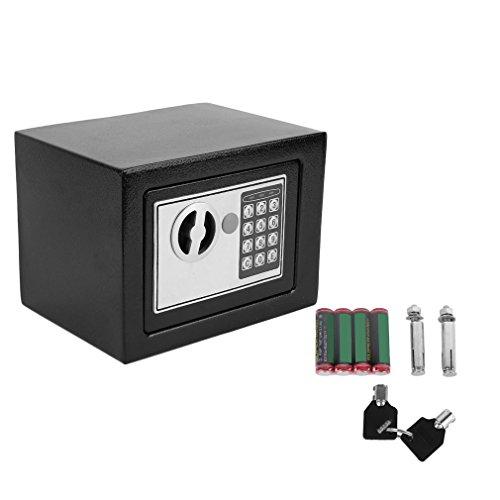Elektronischer Safe Tresor 23x17x17cm mit 4 Batterien - Schwarz
