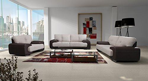 Polstergarnitur Sofa Set 3er & 2er Wohnlandschaft 3-Sitzer und 2-Sitzer Möbel Set - LORENTO (Braun)