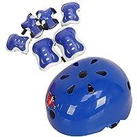 Lot de 7enfants Ensemble de équipement de protection pour enfant SafeGuard–Coudières Genouillères avec protection de poignet et casque pour Multi Sports Planche à roulettes Scooter Vélo Vélo, bleu