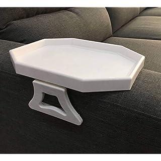 APMAX Sofa-Armlehnen-Tablett, Tisch für Sofa-/Sessellehne, Clip-Tisch/Tablett für Getränke/Fernbedienung/Snacks (Schwarz oder Weiß oder Braun) - weiß