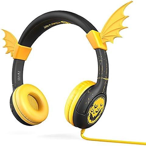 Las Auriculares por cable,iClever Las auriculares para niños,Con el color de oreja de gato negro,Un buen regalo para la navidad --- Nivel