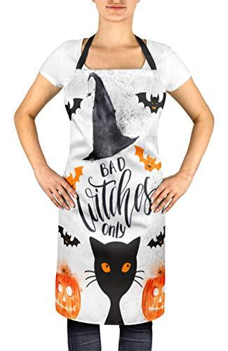 Timingila Weiß Halloween nur Halloween und schlechte Hexen Frauen verstellbare Schürze Küche Kochen Lätzchen 24 x 32 Zoll -