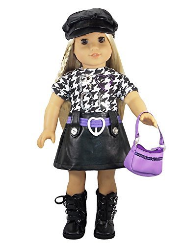 rock-star-outfit-with-black-boots-hat-and-purple-purse-for-18-american-girl-dolls-doll-not-included