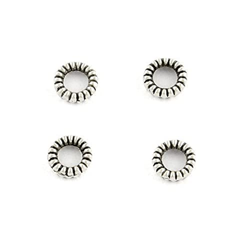 Packet of 100+ Antique Silver Tibetan 4mm Donut Spacer Beads - (HA15195) - Charming Beads