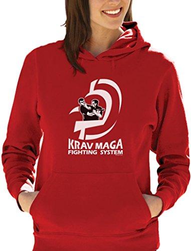Präsent für Krav Maga Movement Fans Damen Kapuzenpullover Hoodie Rot