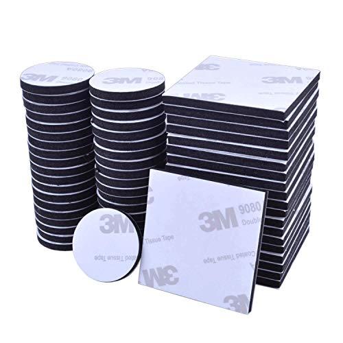 60 Stücke Doppelseitiges Schaumstoff Pads EVA-schaum Klebepads Selbstklebend Schaumstoff Pads, Schwarz, Rund & Quadratisch -