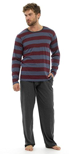 Aus 100% Jersey-Baumwolle, Langarm, lang, lange Hose Pyjama Nachtwäsche, Gr. S Rot-Grau