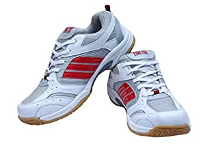 Performer Indoor Men's White Firefly Badminton Shoes with Non Marking Sole (6)