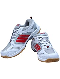 Performer Indoor Men's White Firefly Badminton Shoes with Non Marking Sole