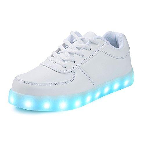 SAGUARO® 7 Farben LED Schuhe USB Aufladen Leuchtschuhe Licht Blinkschuhe Leuchtende Sport Sneaker Light Up Turnschuhe Damen Herren Kinder, Weiß 38