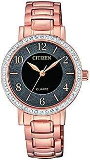 CITIZEN Womens Quartz Watch, Analog Display and Stainless Steel Strap - EL3048-53E