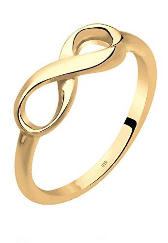 Elli Damen-Ring Infinity Unendlichkeit vergoldet 925 Silber Gr. 56 (17.8) 0604290115-56