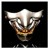 Maske YN Prajna Half Face Japanische Erwachsene Cos Ghost Gesicht Yin Yang Shi Teufel LAN Ling Wang Japanische Art Terrorist Tactics (Color : Silver)