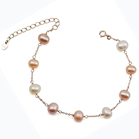 Multicolor Freshwater Cultured Pearl Bracelet Gold Plated Sterling Silver Chain