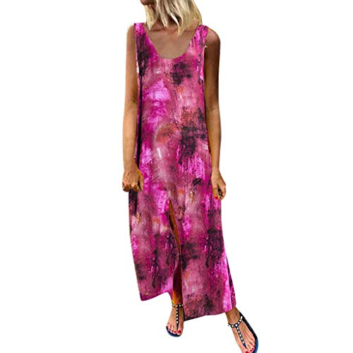♛Wawer, Vintage Ärmelloses O Ansatz Boho Druck Baumwolle und Leinen beiläufige Maxi-Kleid Bedrucktes, Ärmelloses Kleid aus Baumwolle und Leinen Milchseidenkrawatten Sexy Sling Blatt drucken - Leinen Rock Mutterschaft