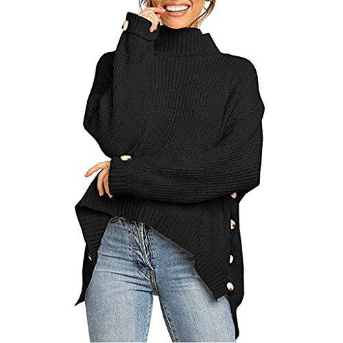 CLOOM Mujer Manga Larga Suelta Cuello Alto Suéter