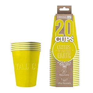 Original Cup - 20 x Vasos Américanos Papels Beer Pong 53cl - Juego para Beber - Amarillo