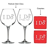 YaYa Cafe Karwa Chauth Gifts Engraved I Do What She Says Couple Wine Glasses Set Of 2 With Coasters - Premium Wine Glasses 600 Ml