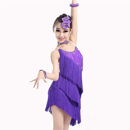 Peggy Gu Kostüm Cosplay Prinzessin Mädchen Tanzkleid Fransen Performance Ballsaal Kostüm Salsa Tango Quaste Latin Dance Kleid Kostüm Gymnastic Dancewear Schicke Party (Farbe : Lila, Größe : 130)