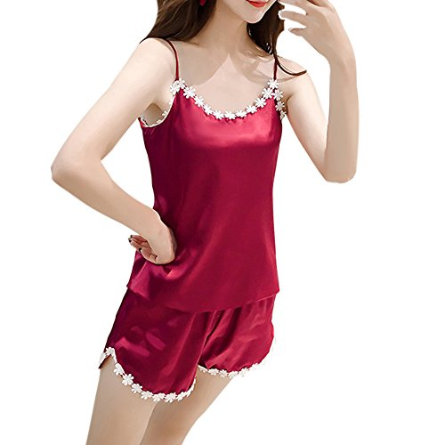 Women's Pajamas Set Classtic Satin Sexy Sleeveless Pajama Set Shorts Sleepwear Pj Set