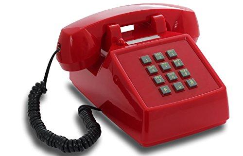 OPIS PushMeFon Cable : Téléphone Retro Filaire a Touches - comme Ancien téléphone avec Sonnerie Cloche en métal Classique (Rouge)