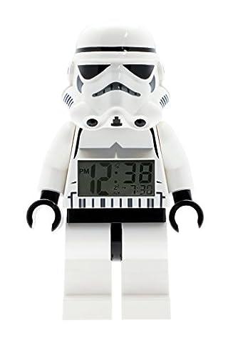 LEGO Star Wars Sturmtruppler Kinder-Wecker mit Minifigur und Hintergrundbeleuchtung | weiß/schwarz | Kunststoff | 24 cm hoch | LCD-Display | Junge/ Mädchen |