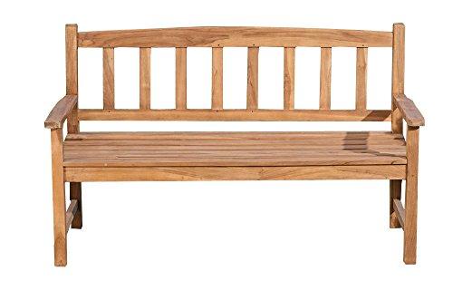 CLP Banc de Jardin en Bois de Teck AUCLAND– Banquette de Jardin en Bois avec Dossier - Résistant aux Intempéries – Chaise de Jardin en Bois 3 Places Assises – Plusieurs Tailles au Choix: 120x64 cm