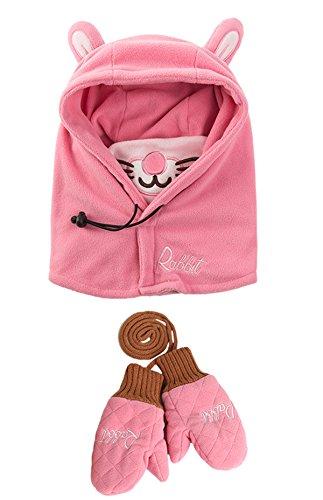 Chilsuessy 2tlg Kinder Winter Schnee Hüte mit Handschuhe Skimütze Schalmütze Schlupfmütze Sturmhaube Ski Maske Schalmütze für Jungen und Mädchen, Pink, 44-48cm (Ausgestattet Cap Passform Eine Hut)