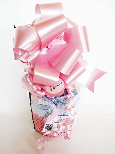 von Windeln mit Schnuller Suavinex Maxi-Muffin | Baby-Dusche-Geschenk-Idee | Gedacht für Geburt oder Taufe mit dem Namen des Babys personifiziert | Rosa, Version für Sissies