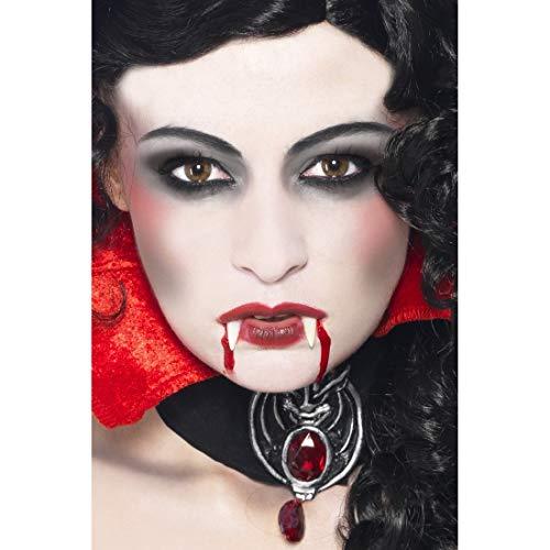 -up-Set Vampir | Weiß-Rot-Schwarz | Vielseitiges Unisex-Zubehör Schminke Blutsauger geeignet für Halloween & Gruselparty ()