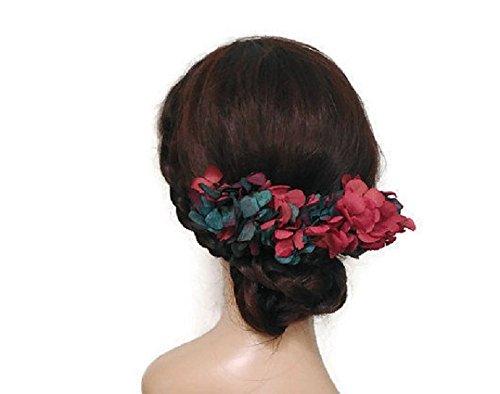 Peineta de flores rosa y azul, peineta de boda, tocado vestido largo, peineta rosa, tocado con flores, corona de flores