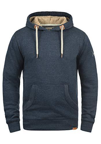 !Solid TripHood Pile Herren Kapuzenpullover Hoodie Sweatshirt mit Teddyfutter aus hochwertiger Baumwollmischung Meliert, Größe:L, Farbe:INS BLU M (P8991)